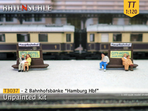 2 Bahnhofsbänke Hamburg Hbf (TT 1:120) in Smooth Fine Detail Plastic