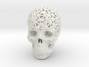 Skull Wireframe in White Natural Versatile Plastic