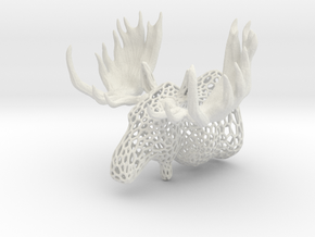 Moose Trophy Voronoi in White Natural Versatile Plastic