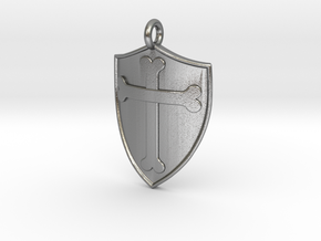 Medieval Shield Pet Tag / Pendant in Natural Silver