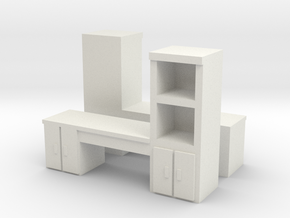 Cabinet Office Desk (x2) 1/100 in White Natural Versatile Plastic