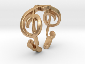 Treble Clef Ring (Size 5)  in Natural Bronze