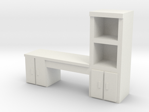 Cabinet Office Desk 1/43 in White Natural Versatile Plastic