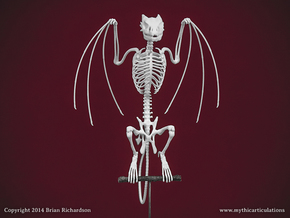 Horned Wyvern Skeleton Perched in White Natural Versatile Plastic