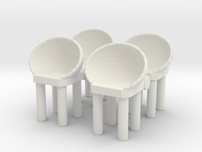 Modern Bar Chair (x4) 1/43 in White Natural Versatile Plastic