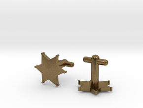Sheriff's Star Cufflinks (2) Silver,Brass,or Gold in Natural Bronze