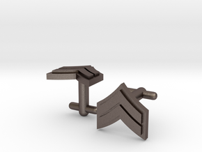 Corporal Chevron Cufflinks in Polished Bronzed Silver Steel