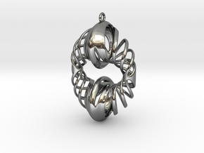 'Fusion' Donut sculpture as a pendant. in Fine Detail Polished Silver