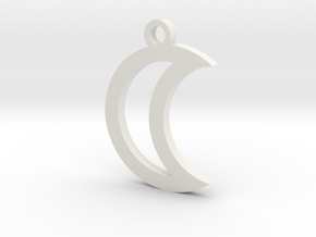 Moon Charm (style 1) in White Natural Versatile Plastic