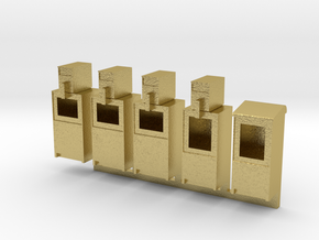 Newspaper Boxes in HO in Natural Brass: 1:87 - HO
