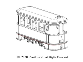H0f Steam KP tramcar     in Smooth Fine Detail Plastic