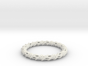 Twisted Column Bangle in White Natural Versatile Plastic
