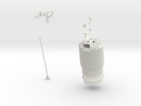 Le Rhone Engine cylinder - 80 hp 1/4.6 scale in White Natural Versatile Plastic