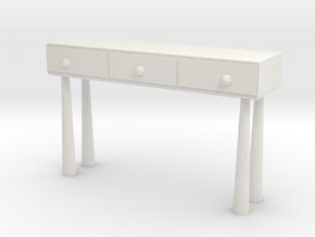Modern Miniature 1:12 Console in White Natural Versatile Plastic: 1:12