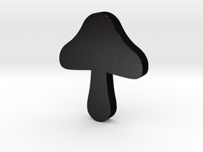 Mushroom Game Piece in Matte Black Steel