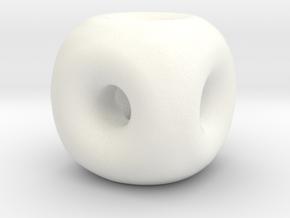 22mm Round Edgeless Cube in White Processed Versatile Plastic