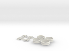 1/12 Centerlock 6 Star Wheels in White Strong & Flexible