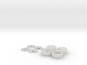 1/12 Centerlock 6 Star Wheels in Smooth Fine Detail Plastic