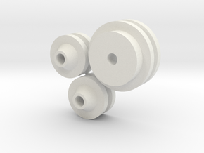 1/8 scale FlatHead Pulley Assembly in White Natural Versatile Plastic