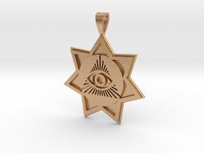 Heptagram Eye Pendant in Natural Bronze: Large
