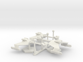 7000 Scale Klingon D7 Battlecruisers (3) WEM in White Natural Versatile Plastic