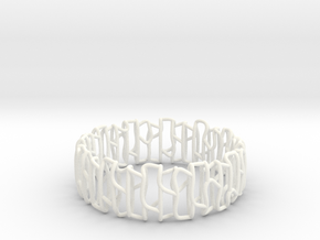 Modern patterned bracelet in White Processed Versatile Plastic: Large