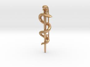 Asclepian Rod pin - Snake Rod - Symbol of Medicine in Natural Bronze