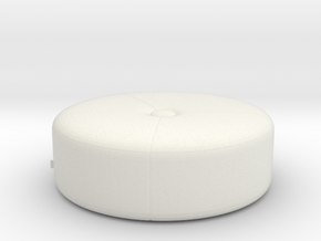 Modern Miniature 1:48 Pouf in White Natural Versatile Plastic: 1:48 - O