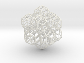 rhombic tricontahedrons, at icosahedron vertices in White Natural Versatile Plastic