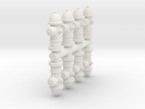 Fire Hydrant (x8) 1/48 in White Natural Versatile Plastic