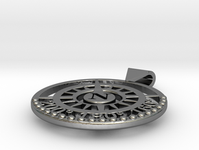 Nautical North Compass Pendant in Polished Silver