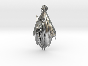 Bat Gothic pendant in Natural Silver