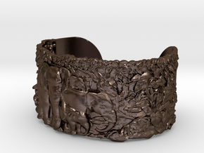 Elephants Bangle Bracelet in Polished Bronze Steel
