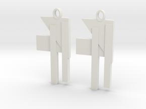 Modern Earrings Design!!! in White Natural Versatile Plastic: Small