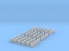 18 Jersey Barriers for 6mm, 1/300 or 1/285 in Smooth Fine Detail Plastic