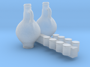 O Scale Cups and Pitchers in Smooth Fine Detail Plastic