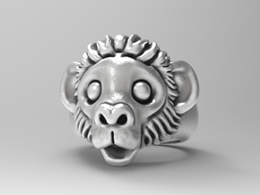 cute Monkey ring  6.5 in Natural Silver