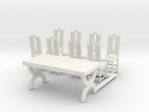 HO Scale Table and Place Settings in White Natural Versatile Plastic