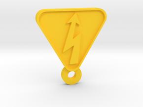 High Voltage hazard Keychain in Yellow Processed Versatile Plastic