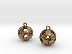 Soccer Balls Earrings in Natural Brass