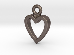 Heart Charm / Pendant / Trinket in Polished Bronzed Silver Steel