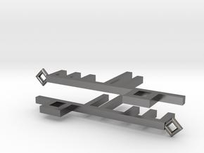 Peace Key Square Kufic Earrings in Polished Nickel Steel