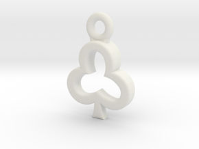 Club Charm / Pendant / Trinket in White Natural Versatile Plastic