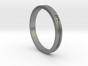 Arrow engraved ring in Natural Silver: 6 / 51.5
