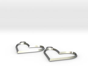 heart earrings in Natural Silver