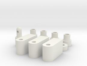 Kyosho Um-14 shock spacer bushings, servo mounts,  in White Natural Versatile Plastic