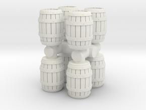 Wooden Barrel (x8) 1/100 in White Natural Versatile Plastic