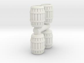 Wooden Barrel (x4) 1/64 in White Natural Versatile Plastic