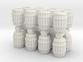 Wooden Barrel (x16) 1/120 in White Natural Versatile Plastic