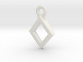 Diamond Charm / Pendant / Trinket in White Natural Versatile Plastic